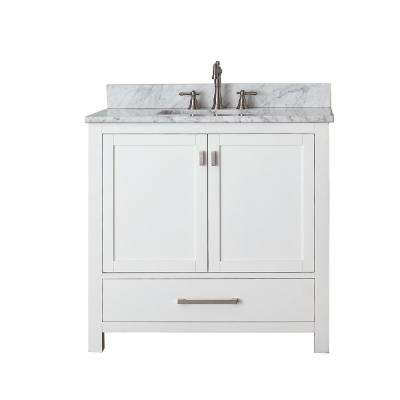 Modero 37 in. W x 22 in. D x 35 in. H Vanity in White with Marble Vanity Top in Carrera White and White Basin