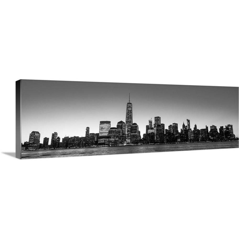 Greatbigcanvas new york city skyline in the evening black and white by circle capture canvas wall art 2417945 24 60x20 the home depot