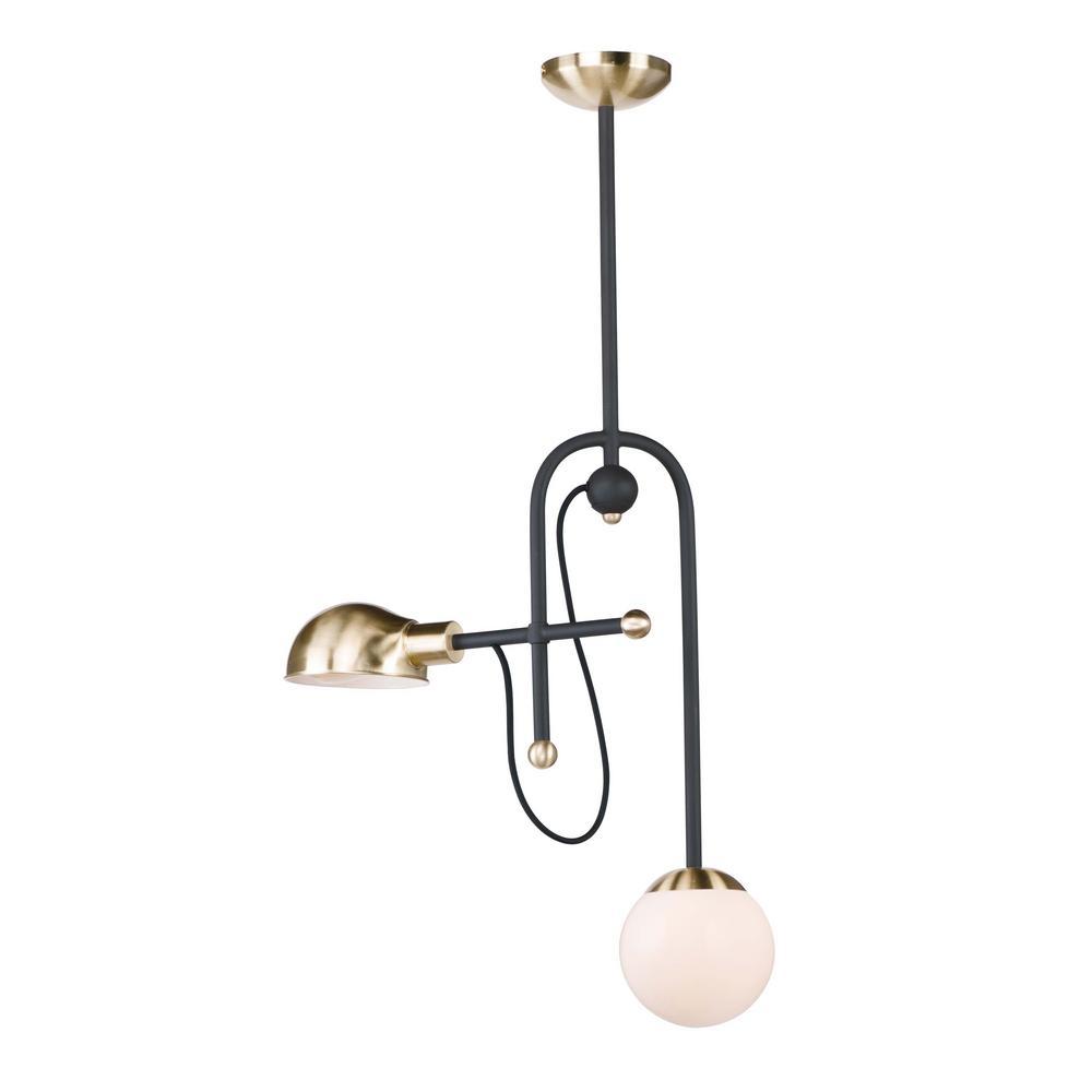 Mingle 2-Light Bronze/Satin Brass Pendant