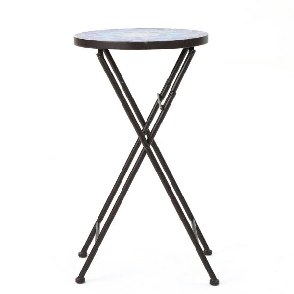 Azure Blue Stone Outdoor Side Table