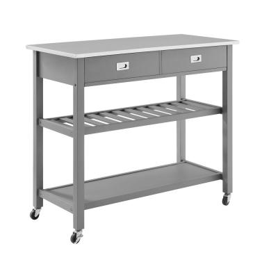 Chloe Gray Kitchen Island with Stainless Steel Top