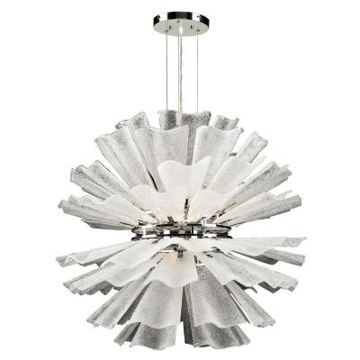 8-Light Polished Chrome Pendant with Frost Glass