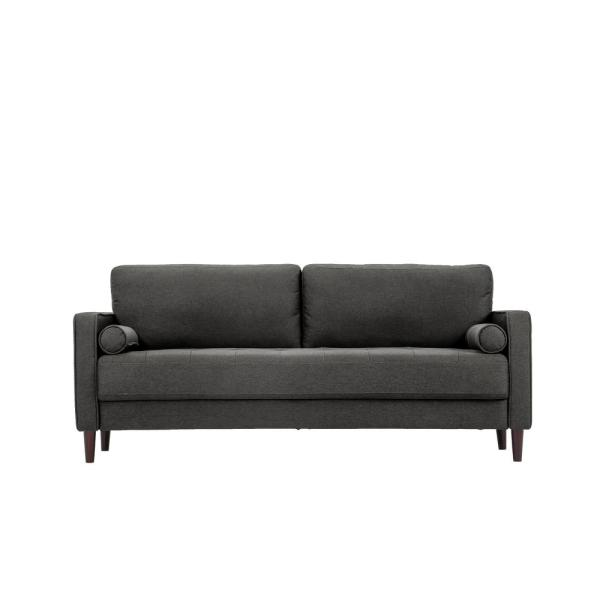 Lifestyle Solutions - Lillith 31.1 in. Heather Grey Polyester 4-Seater Tuxedo Sofa with Square Arms