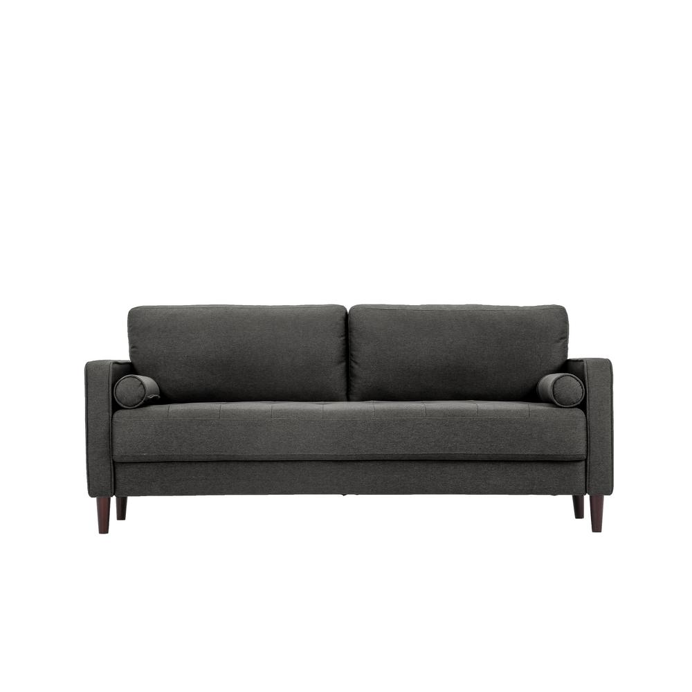 Lifestyle solutions lillith mid century modern sofa with tufted seating in heather grey