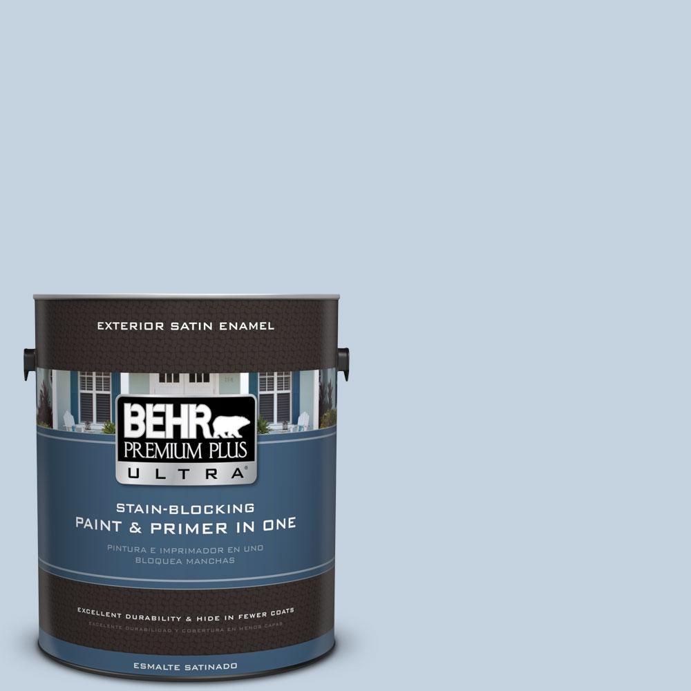 BEHR Premium Plus Ultra 1-gal. #570E-2 Velvet Sky Satin Enamel Exterior Paint
