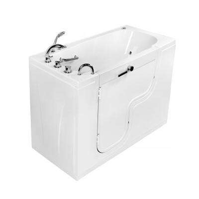 Wheelchair Transfer 60 in. Acrylic Walk-In Whirlpool and MicroBubble Bathtub in White, Faucet Set, LHS 2 in. Dual Drain