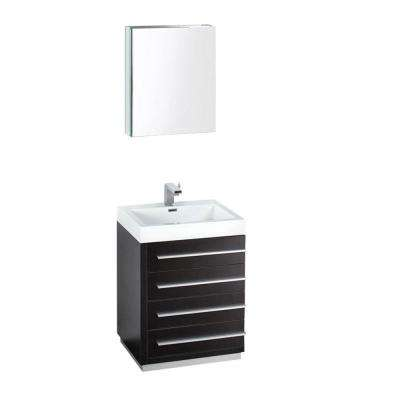 Livello 24 in. Vanity in Black with Acrylic Vanity Top in White with White Basin and Mirrored Medicine Cabinet