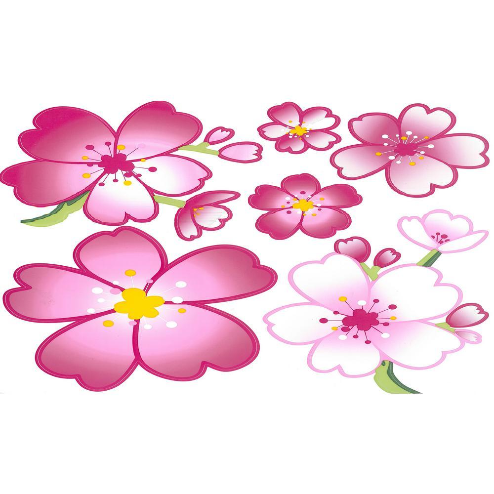 Falkirk Brin Pink, Green Cherry Blossom Floral Self Adhesive Wallpaper Border