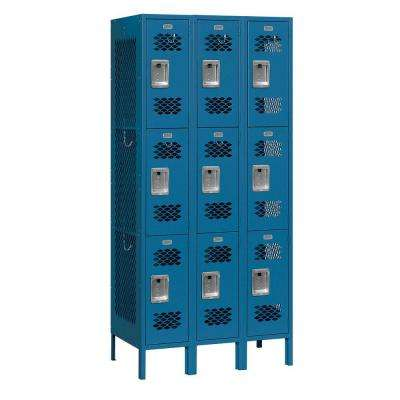 73000 Series 36 in. W x 78 in. H x 15 in. D 9-Tier Vented Metal Locker Assembled in Blue