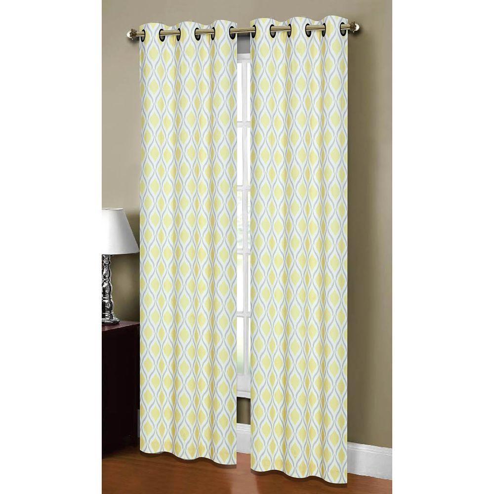 Semi Opaque Malden Printed Cotton Blend Grommet Curtain Panel.  Black/Silver; Grey/Yellow ...
