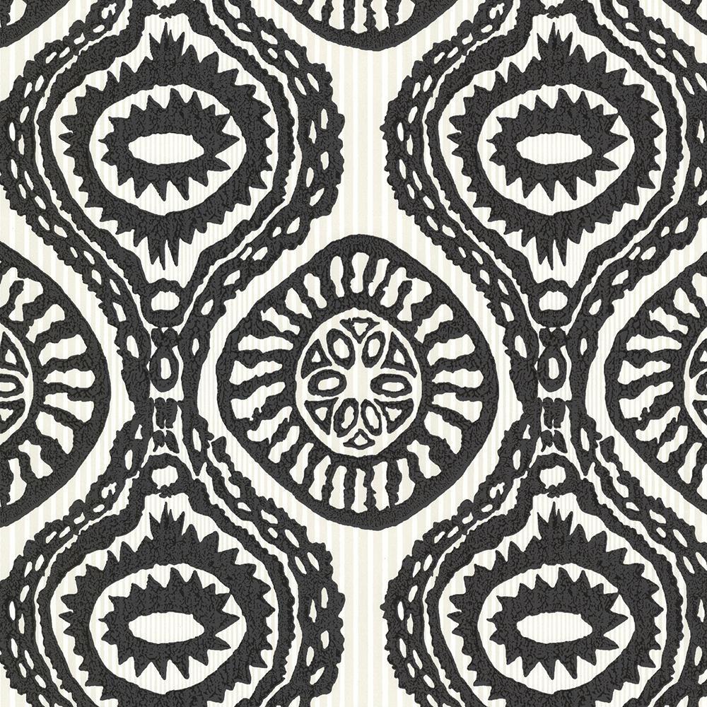 Brewster Black Marrakech Medallion Stripe Wallpaper Sample HZN43032SAM