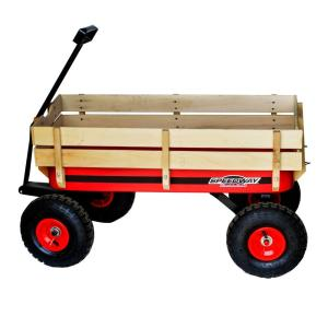 SPEEDWAY 200 lb. Capacity All-Terrain Wooden Racer Wagon by SPEEDWAY