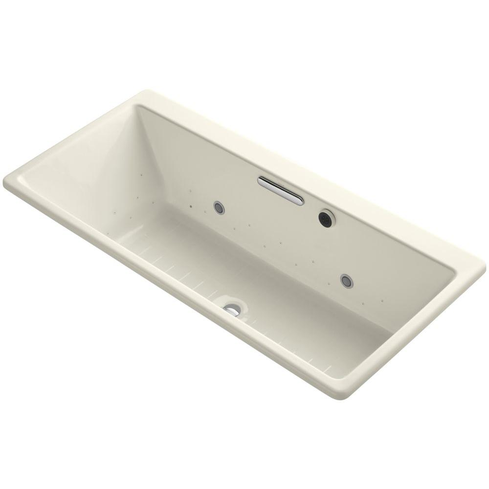 Kohler Reve 5 5 Ft Air Bath Tub In Biscuit K 820 Gc96 96