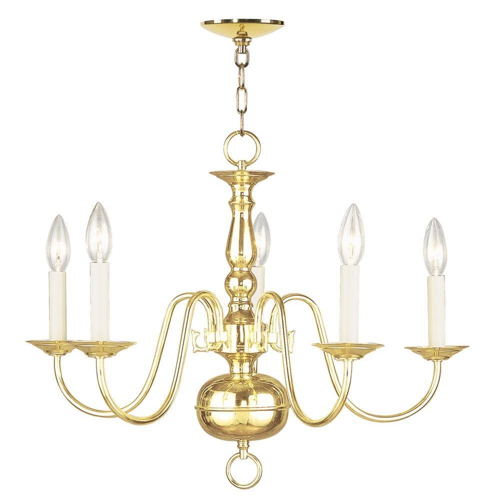 Livex Lighting 5-Light Polished Brass Chandelier