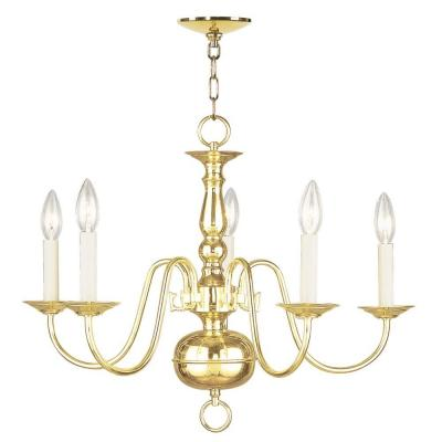 5-Light Polished Brass Chandelier