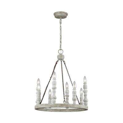 Norridge 8-Light Distressed White Chandelier