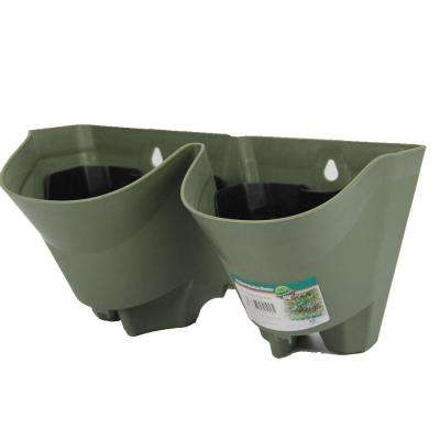 12 in. Olive Green Self-Watering 2 Pockets Plastic Vertical Wall Garden Planters