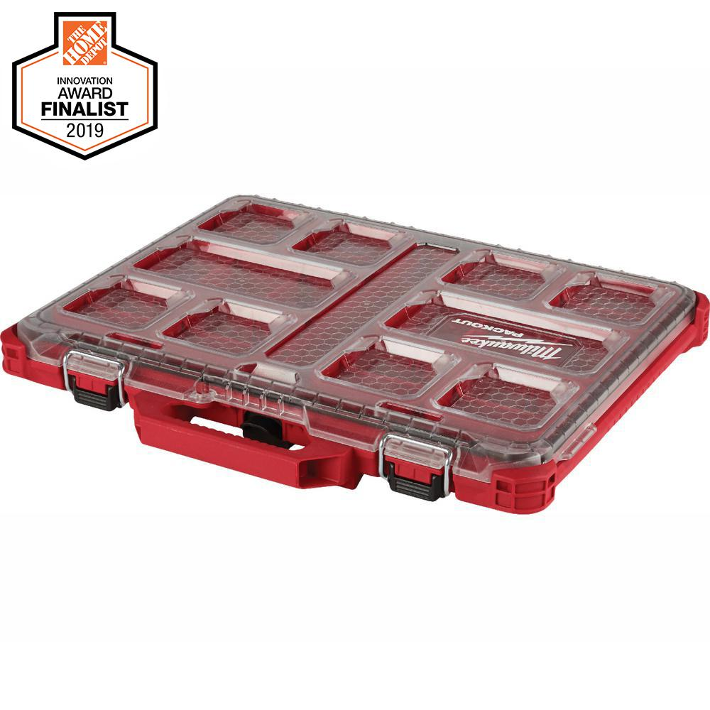 Milwaukee Packout 11 Compartment Low Profile Small Parts Organizer 48 22 8431 The Home Depot