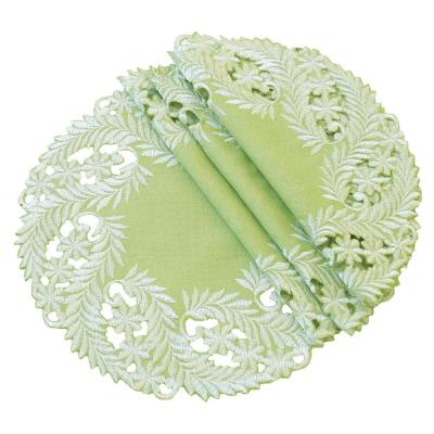 Laurel 2 in. Green Embroidered Cutwork Round Doily (Set of 4)