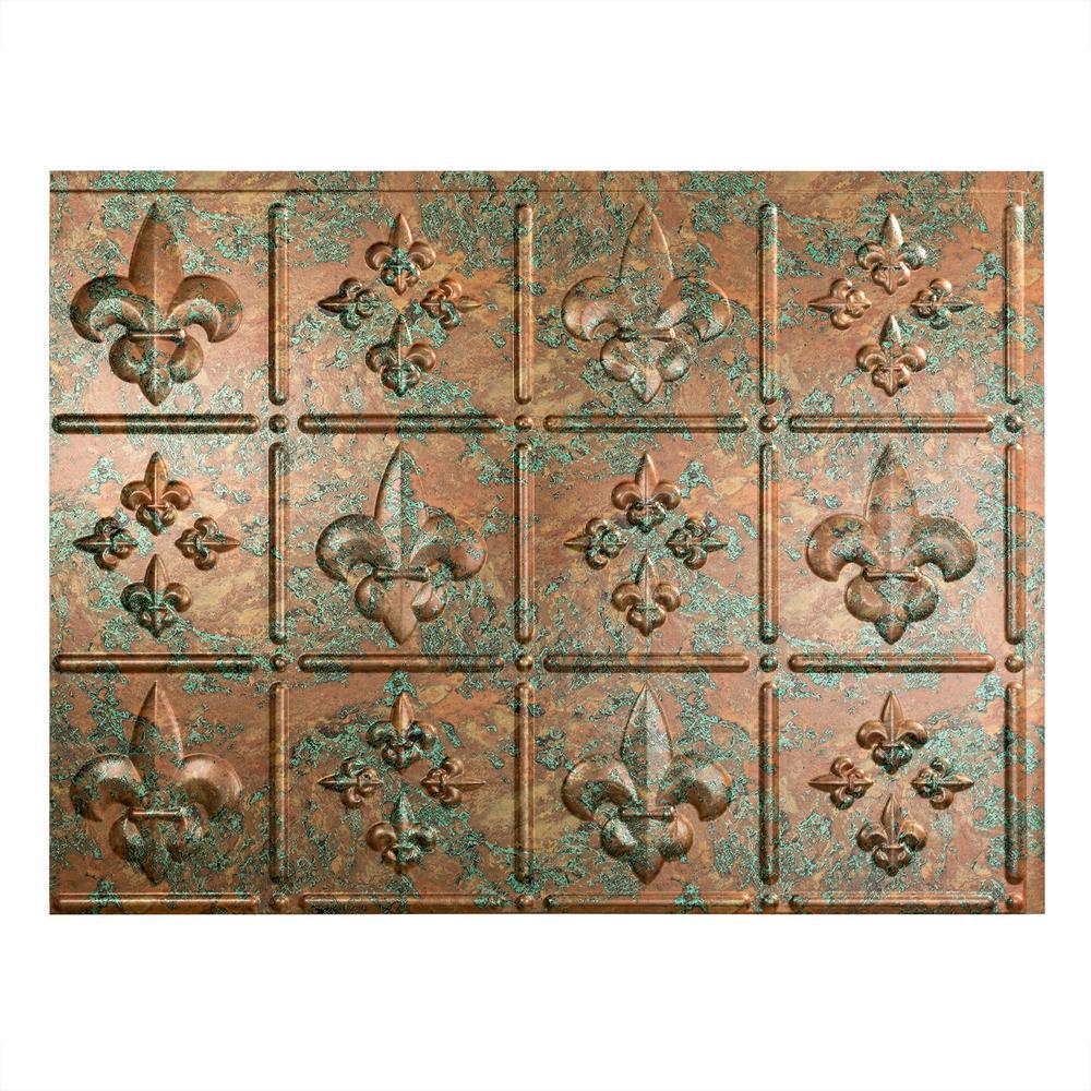 Fleur de Lis 18 in. x 24 in. Copper Fantasy Vinyl Decorative Wall Tile Backsplash 18 sq. ft. Kit