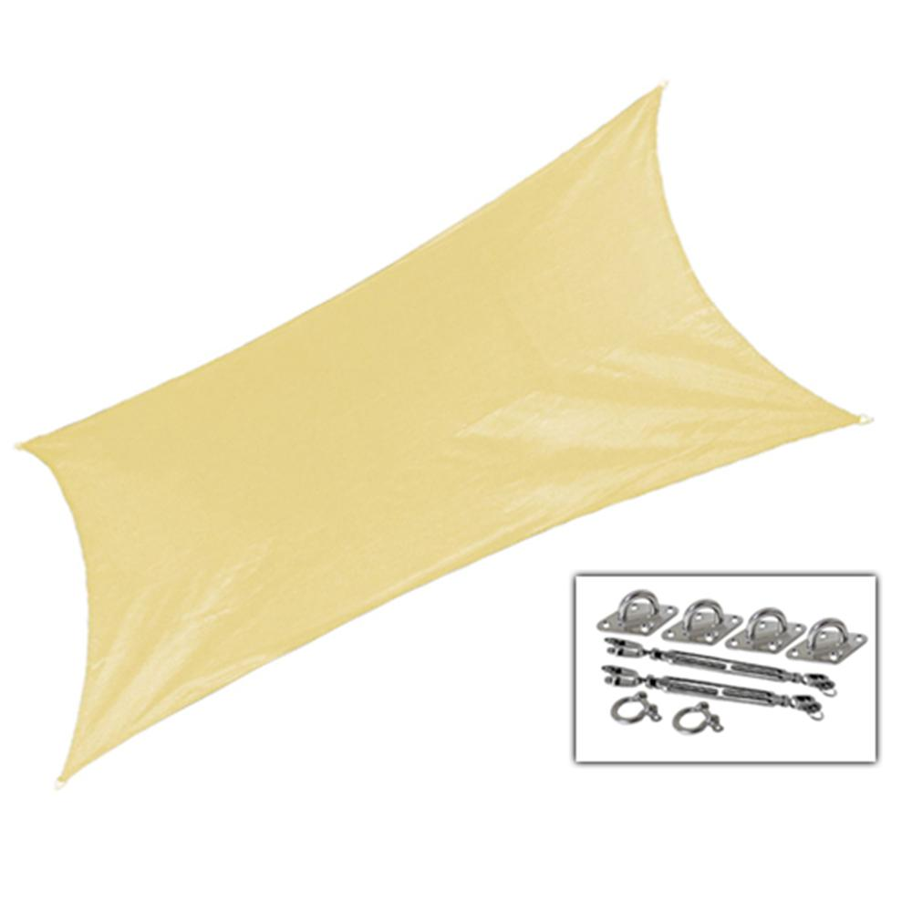 Coolaroo 12 ft. x 10 ft. Beige Rectangle Ultra Shade Sail with Kit