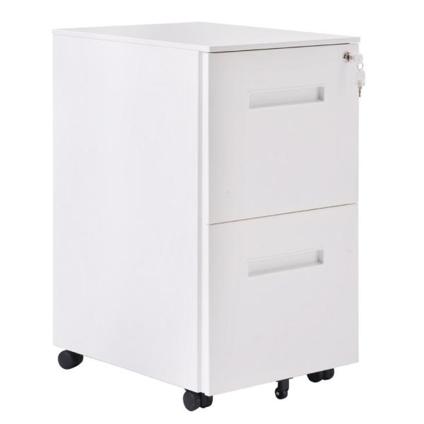 Merax White 2 Drawers File Cabinet With