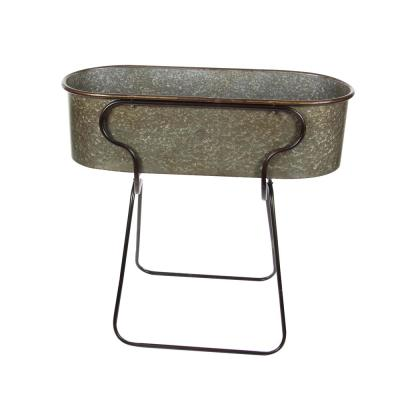 38 in. Rustic Galvanized Iron Planter with Stand