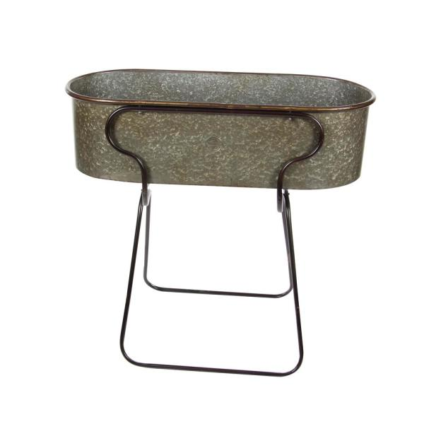 Litton Lane 38 in. Rustic Galvanized Iron Planter with Stand