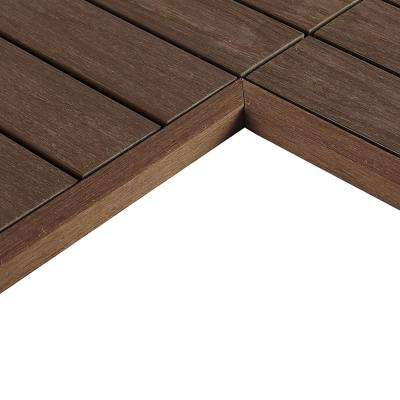 1/6 ft. x 1 ft. Quick Deck Composite Deck Tile Inside  End Corner Fascia in Brazilian Ipe (2-Piece/box)