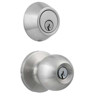 Standard Duty Commercial Satin Chrome Keyed Entry Knob with Single Cylinder Deadbolt Combo