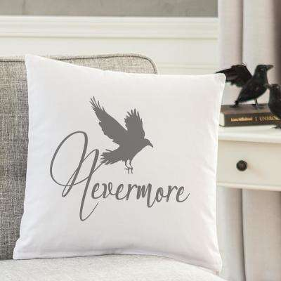Nevermore Raven 16 in. L x 16 in. W Halloween Throw Pillow