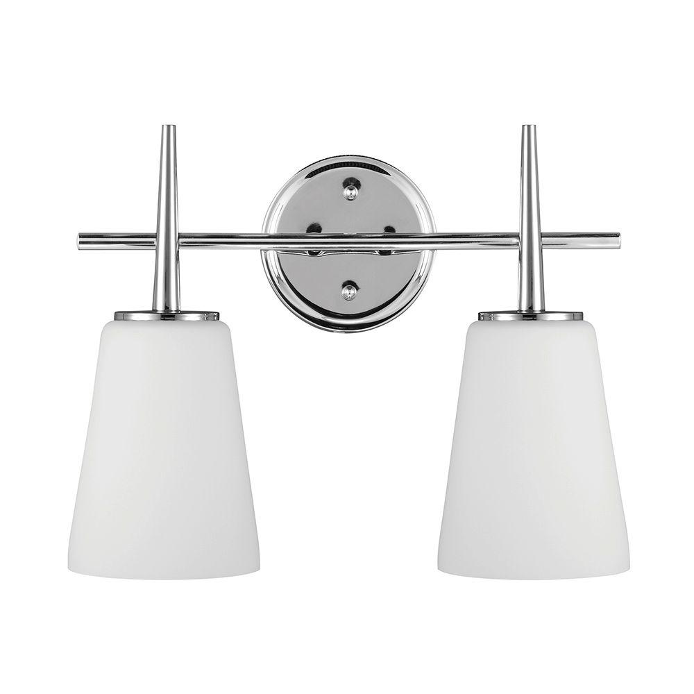 Sea gull lighting driscoll 2 light chrome wallbath vanity light sea gull lighting driscoll 2 light chrome wallbath vanity light with inside white aloadofball Gallery