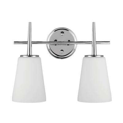 Driscoll 2-Light Chrome Wall/Bath Vanity Light with Inside White Painted Etched Glass