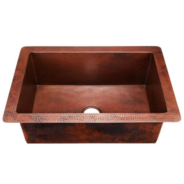 Chester Undermount Handmade Pure Solid Copper 33 in. Single Bowl Kitchen Sink in Aged Copper