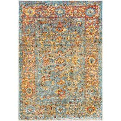 5x7 Rugs Under 50.Caius Aqua Orange 2 Ft X 3 Ft Oriental Area Rug