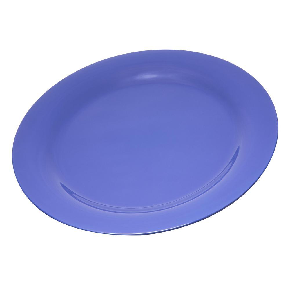 Durus 10.5 in. Ocean Blue Melamine Wide Rim Dinner Plate (12-Pack)