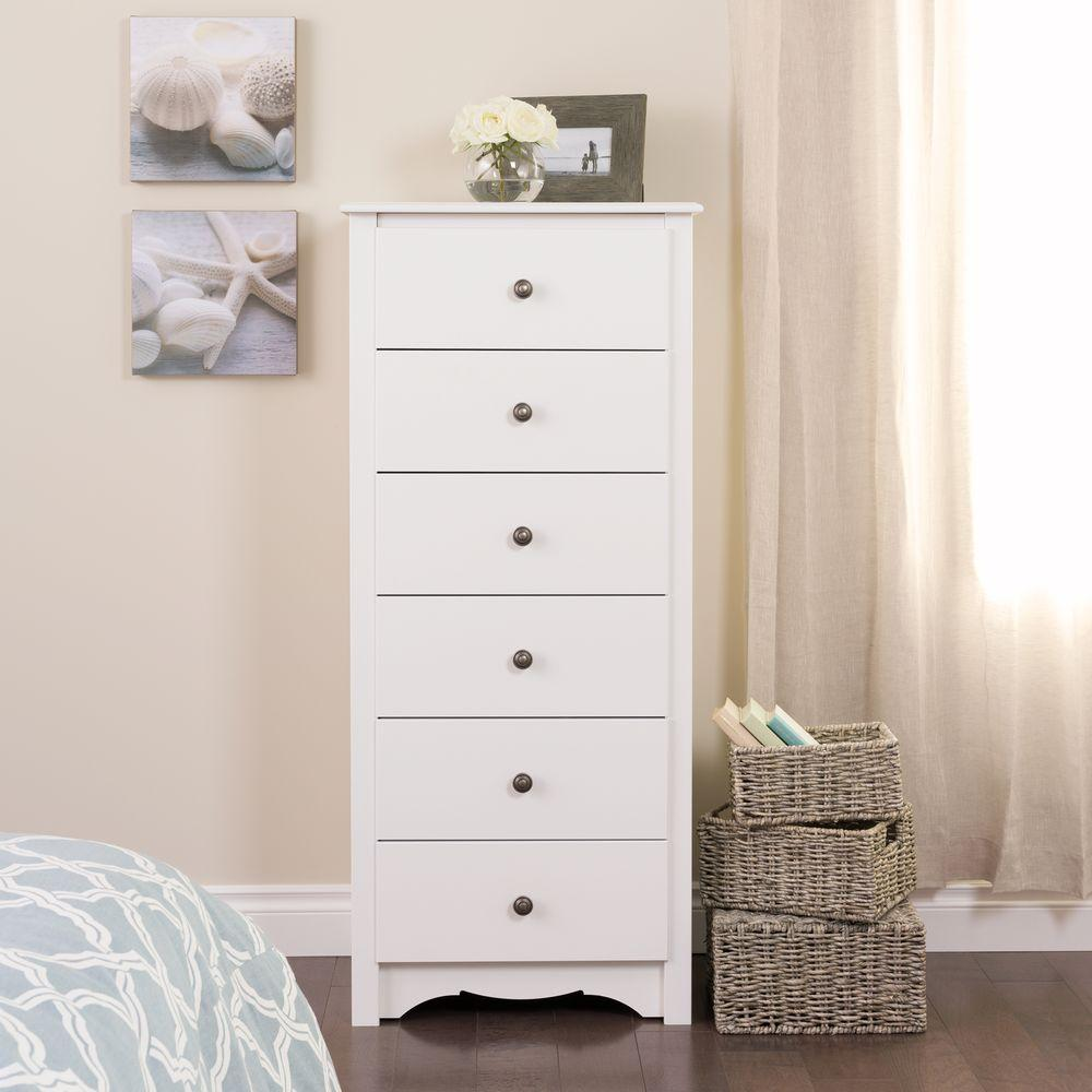 Prepac Monterey 6 Drawer White Chest