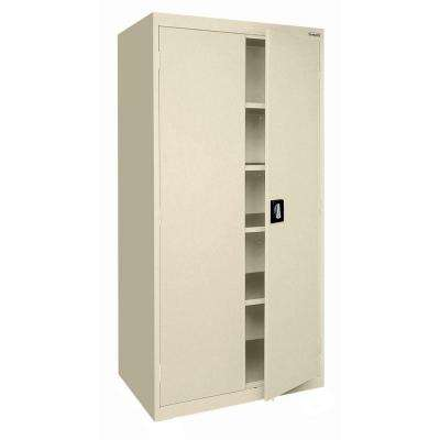 Elite Series 78 in. H x 36 in. W x 18 in. D 5-Shelf Steel Recessed Handle Storage Cabinet in Putty