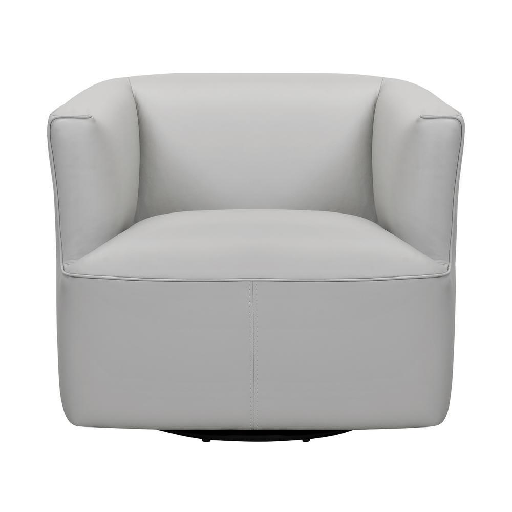Whitney Swivel Dove Gray Leather Barrel Chair