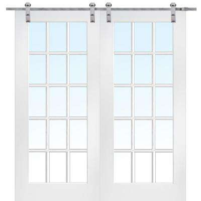 72 in. x 84 in. 15 Lite True Divided Primed MDF Barn Door with Sliding Door Hardware Kit