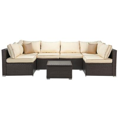 Classic Brown 7-Piece Wicker Sectional Seating Set with Beige Cushions