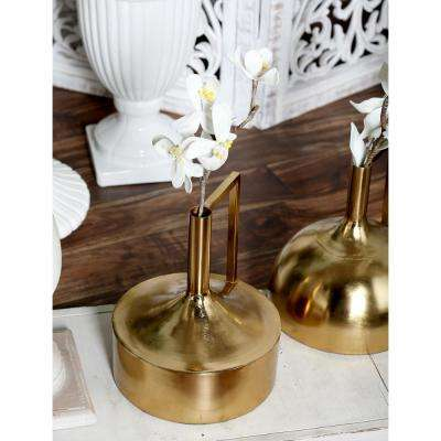 11 in. Gold Iron Decorative Vase with Large Cylindrical Body, Tall Neck and Inverted L Handle