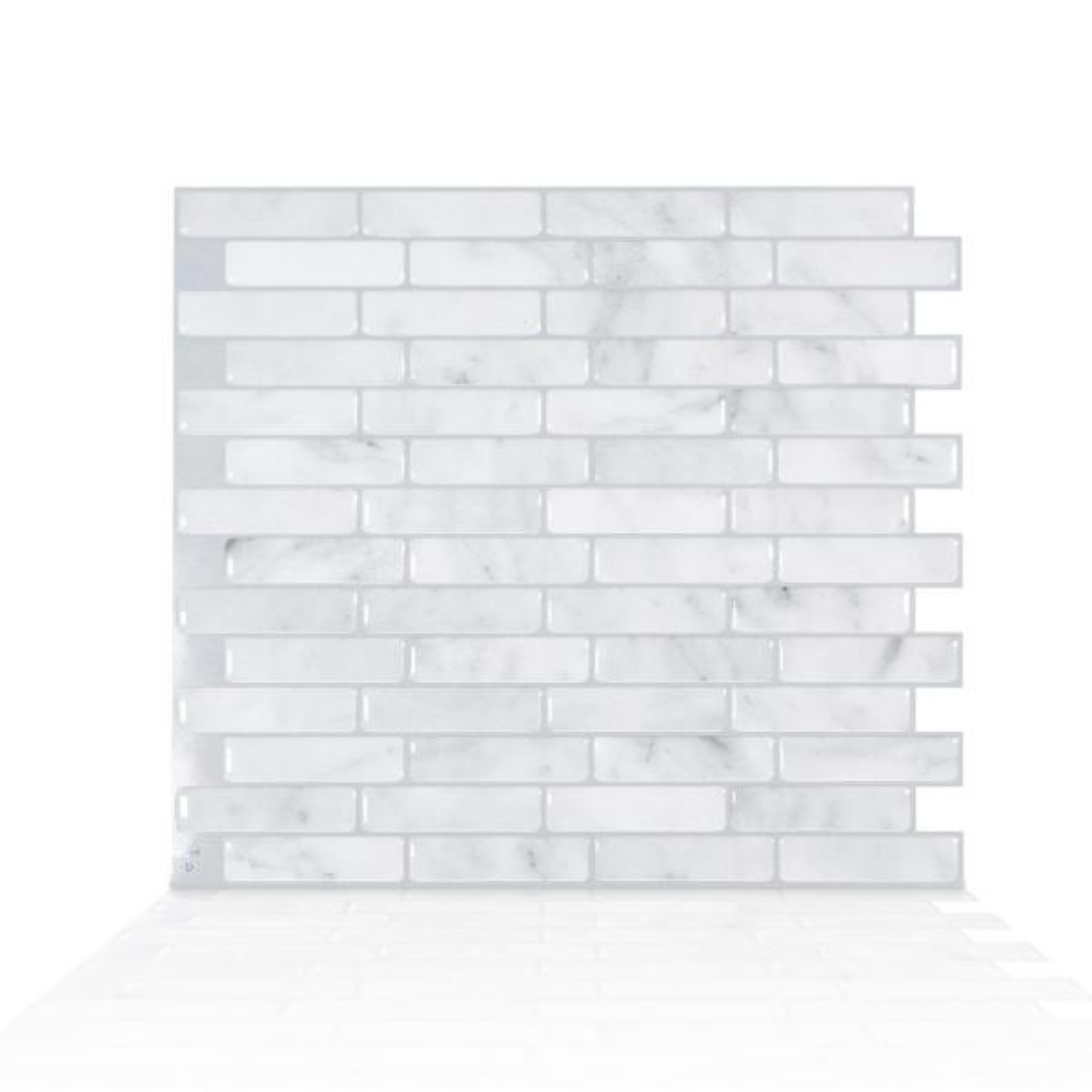 Smart Tiles Milenza Bari 10.20 in. W x 9.00 in. H Grey Peel and Stick Self-Adhesive Decorative Mosaic Wall Tile Backsplash (4-Pack)