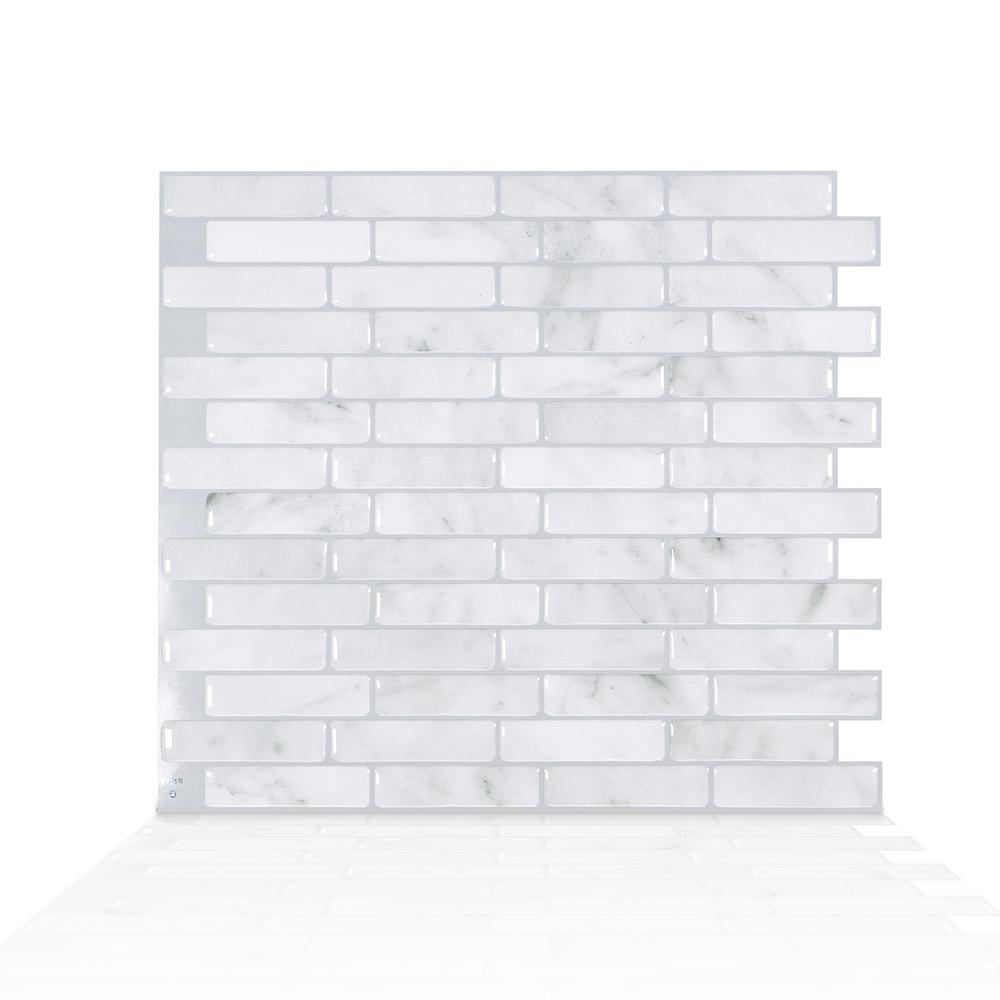 Smart Tiles Milenza Bari 10 20 In W X 9 00 In H Grey Peel And Stick Self Adhesive Decorative Mosaic Wall Tile Backsplash 4 Pack Sm1152g 04 Qg The Home Depot