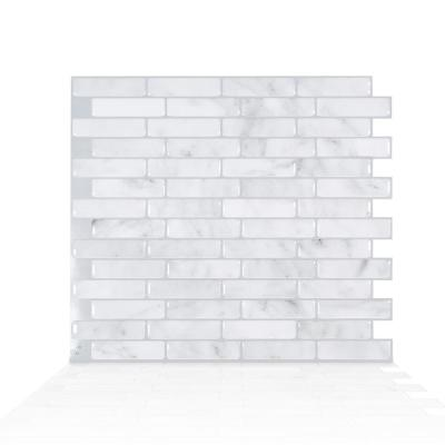 Milenza Bari 10.20 in. W x 9.00 in. H Grey Peel and Stick Self-Adhesive Decorative Mosaic Wall Tile Backsplash (4-Pack)