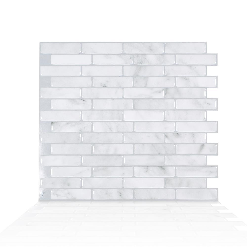 Milenza Bari 10.20 in. W x 9.00 in. H Grey Peel and Stick Self-Adhesive Decorative Mosaic Wall Tile Backsplash (4-Pack)