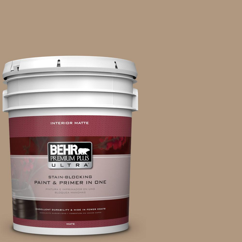BEHR Premium Plus Ultra Home Decorators Collection 5 gal. #HDC-WR14-3 Roasted Hazelnut Flat/Matte Interior Paint