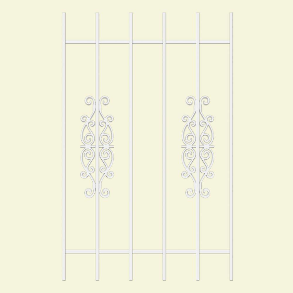 Unique Home Designs Victorian Scrolls 30 in. x 48 in. White 6-Bar Window Guard-DISCONTINUED