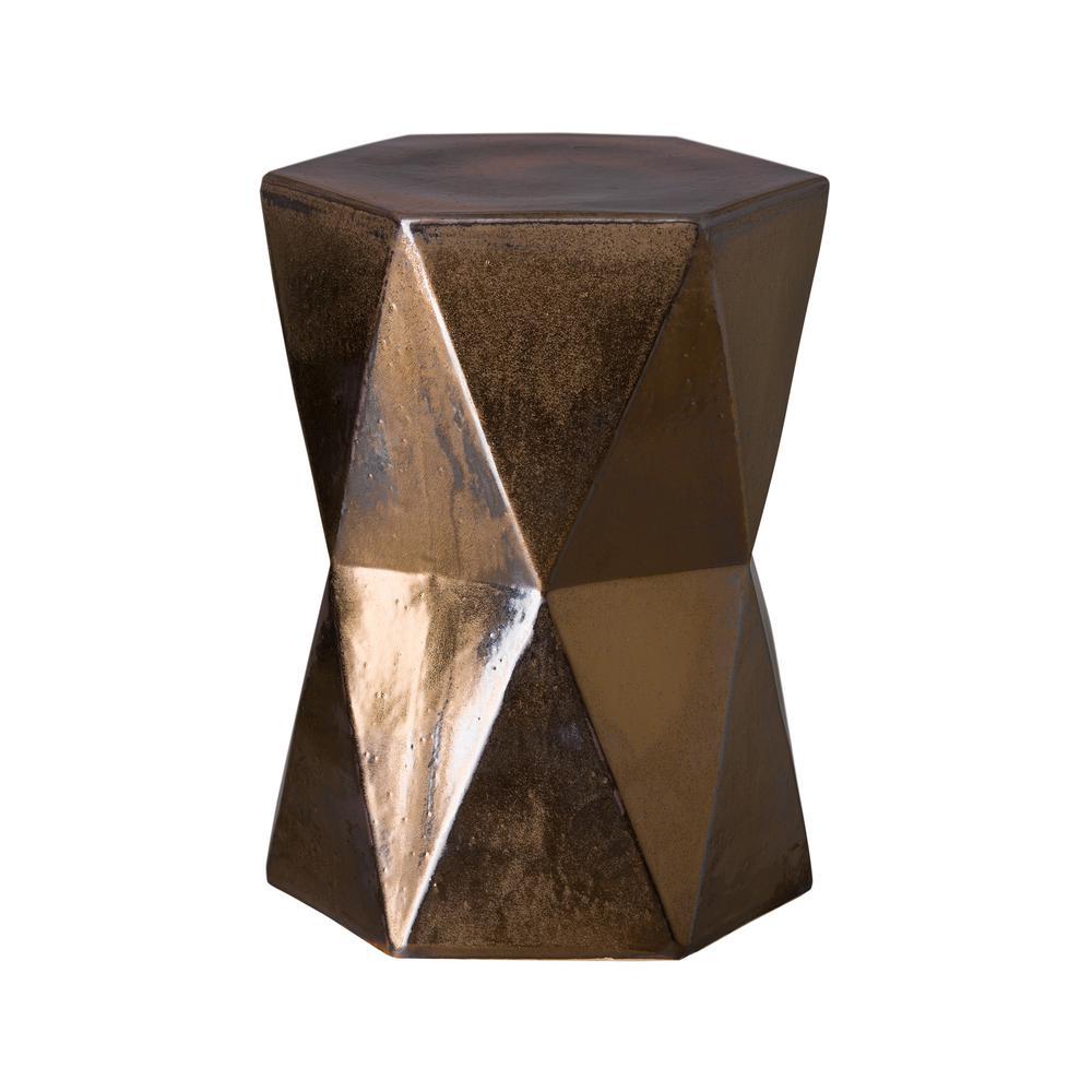 18 in. Matrix Hex Gold Ceramic Garden Stool