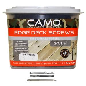 CAMO 2-3/8 inch 316 Stainless Steel Trimhead Deck Screw (1750-Count) by CAMO